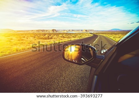Arizona Scenic Drive. Driving Down the Road During Scenic Summer Sunset. Summer Trip.