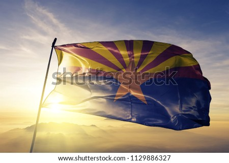 Arizona state flag textile cloth fabric waving on the top