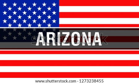 Arizona state on a USA flag background, 3D rendering. United States of America flag waving in the wind. Proud American Flag Waving, US Arizona state concept. US symbol and American Arizona background