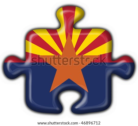 Arizona (USA State) button flag puzzle shape