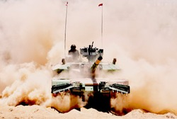 Arjun Main Battle Tank with mine plough was at display. This is developed by Defence Research Organisation of India.