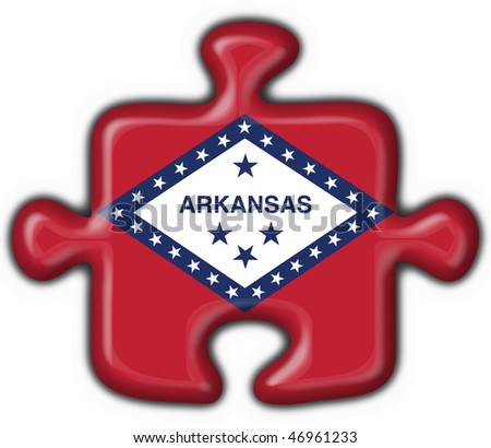 Arkansas (USA State) button flag puzzle shape