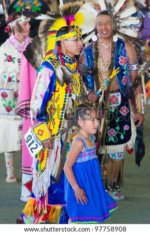 ARLEE, MONTANA - JULY 3: Unidentified Native Americans perform tribal dances at the 113th Annual Arlee Celebration Powwow. July 3, 2011 in Arlee, Montana