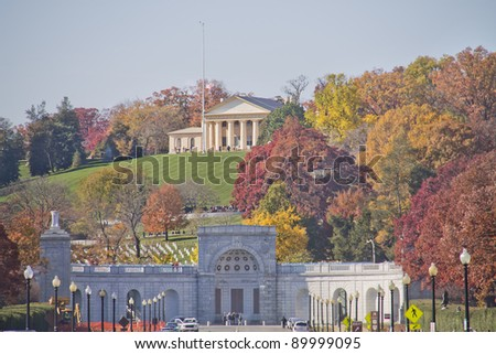 Arlington Cemetery Memorial Entrance and former home of Robert E. Lee Virginia ,at Fall