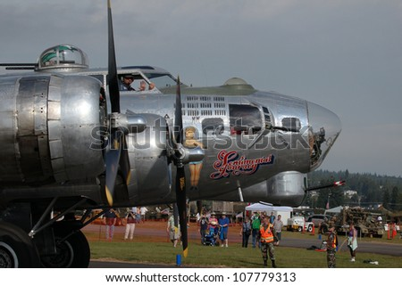 ARLINGTON - JULY 14: A B17 Flying Fortress Bomber flew at the Arlington Fly In airshow on July 14, 2012 in Arlington Washington State