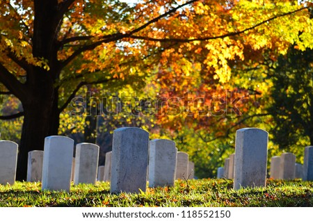 Arlington National Cemetery near to Washington DC, in Autumn