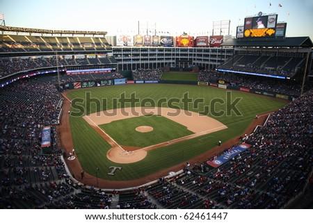 ARLINGTON, TEXAS - SEPTEMBER 27: Night game at The Ballpark in Arlington between the Rangers and Seattle Mariners on September 27, 2010 in Arlington, Texas.