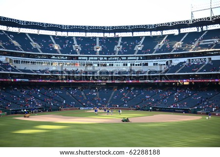 ARLINGTON, TEXAS - SEPTEMBER 27: Pregame activities at The Ballpark in Arlington before a game between the Rangers and Seattle Mariners on September 27, 2010 in Arlington, Texas.