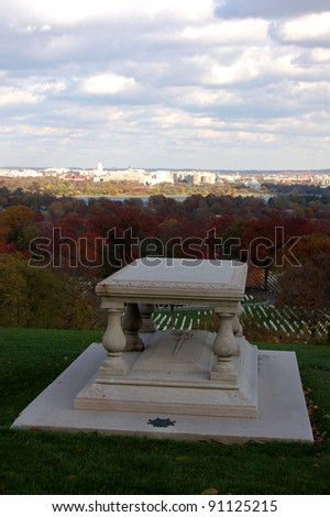 ARLINGTON, VA - NOVEMBER 11: The grave of Pierre Charles L'Enfant, shown November 11, 2011, at Arlington National Cemetery in Arlington, VA. He was an architect and civil engineer who laid out D.C.