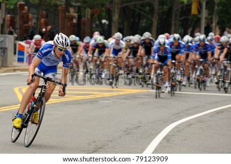 ARLINGTON, VIRGINIA - JUNE 12: A cyclist leads in the U.S. Air Force Cycling Classic on June 12, 2011 in Arlington, Virginia