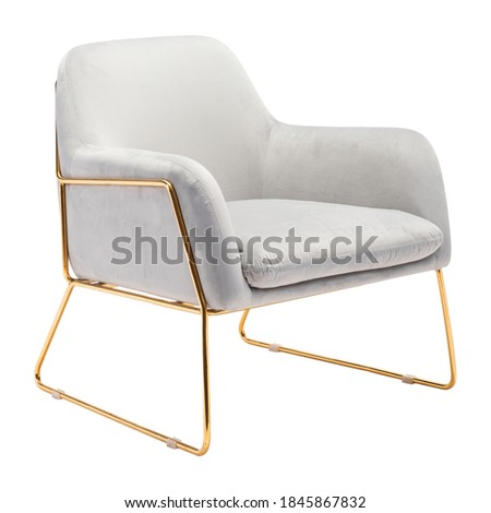 Arm Chair Wrapped in Gray Velvet Fabric Isolated on White. Wingback Armchair. Modern Upholstered Cushy Lounge Accent Chair Gold Frame. Armrests Club Chair. Interior Furniture. Living Room Sofa Set