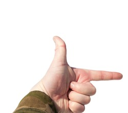 Arm in military camouflage uniform in the shape of a square, hand-frame. Isolated on white