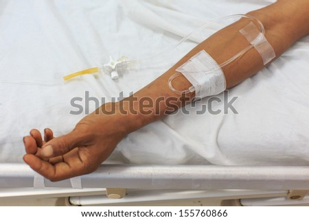 Arm of male patient in the hospital
