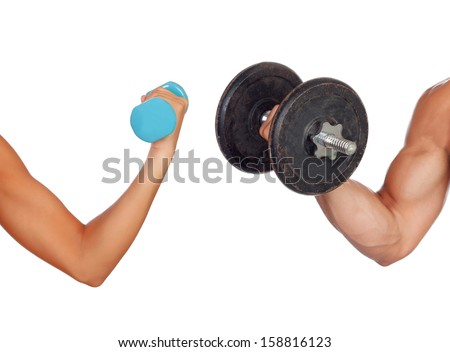 Arm of man and woman lifting weights isolated on a white background