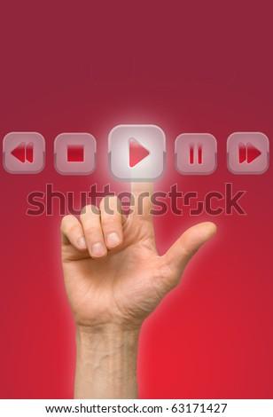 arm press button, touch screen