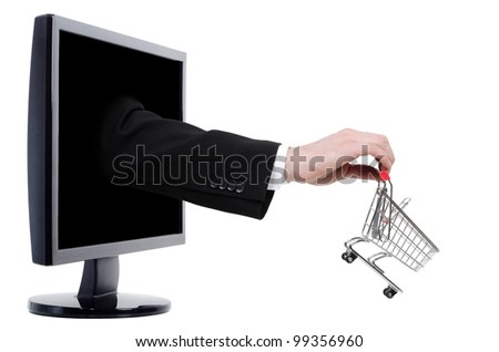Arm with a shopping carriage on the hand comes out of a monitor