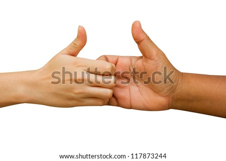 arm wrestling between man and woman on white background