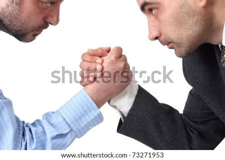 Arm wrestling in the office isolated on white background.