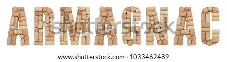 Armagnac made of wine corks Isolated on white background
