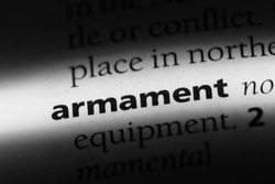 armament word in a dictionary. armament concept.