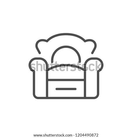 Armchair line icon isolated on white