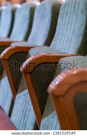 Armchair Theater. Classical theater seats deep. vertical photo #1381529549