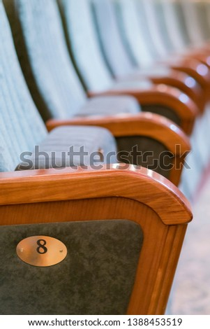 Armchair Theater. Classical theater seats deep. vertical photo #1388453519