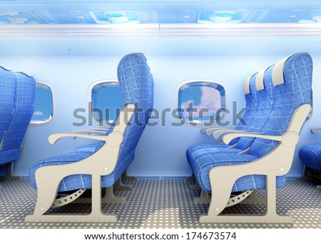 Armchairs for passengers on the plane.