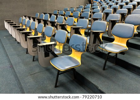 Armchairs in room can use for education or work tilted to left