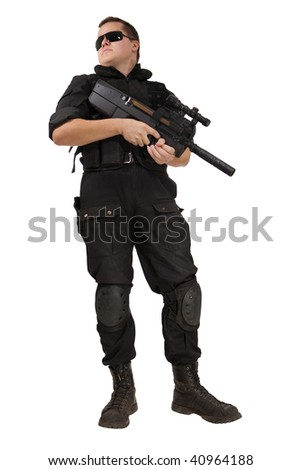 Armed man in NATO uniform with the P90 machine gun. Isolated on white.