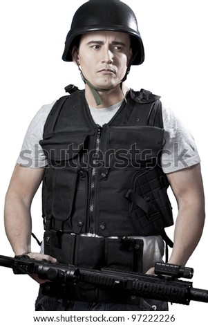 Armed man in protective cask with a pistol. Isolated on white. - stock photo