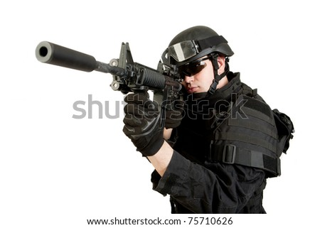 Armed man in protective cask with M4 rifle (with muffler). Isolated on white background