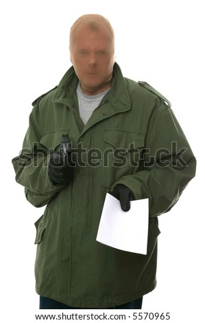 Armed robber holding out a blank demand, enter your own text. Isolated on white.