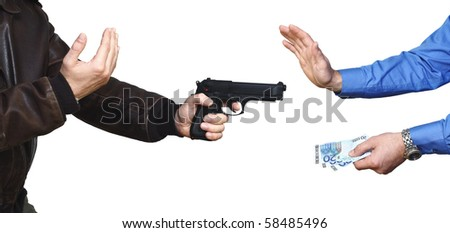 armed robbery backgound, casual man and businessman on white