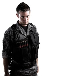 armed soldier isolated on a white background