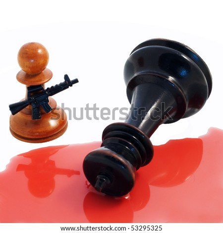 Armed, white chess pawn standing over a lying black king in a puddle of blood against a white background