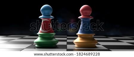 Armenia and Azerbaijan crisis, Nagorno Karabakh conflict concept. Armenian and Azerbaijan flag chess pawns on chessboard, dark background. 3d illustration
