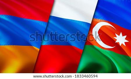 Armenia, Azerbaijan and Russia flags with scar concept. Waving flag,3D rendering. Armenia Azerbaijan Russia conflict concept. Armenia Azerbaijan relations concept. flag of Armenia and Azerbaijan