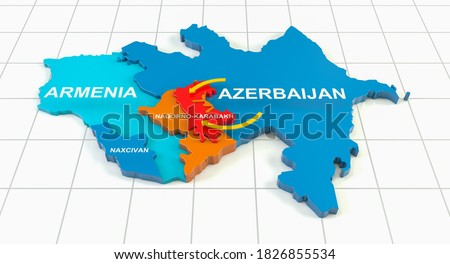Armenia-Azerbaijan conflict in Nagorno-Karabakh on 3d geographic map. 3d rendering