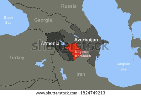 Armenia-Azerbaijan conflict in Nagorno-Karabakh on outline geographic map.