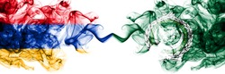 Armenia vs Arab League smoky mystic flags placed side by side. Thick colored silky abstract smoke flags
