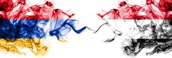 Armenia vs Yemen, Yemeni smoky mystic flags placed side by side. Thick colored silky abstract smoke flags