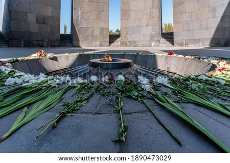 Armenian Genocide memorial, the Armenia's official memorial dedicated to the victims of the Armenian Genocide.The eternal flame inside the memorial.