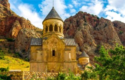 Armenian mountain stone church view. Mountain church in Armenia. Mountain church view