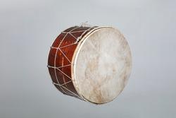 Armenian Turkish  and Kurdish drum davul isolated on white background. Oriental traditional folk musical instrument.