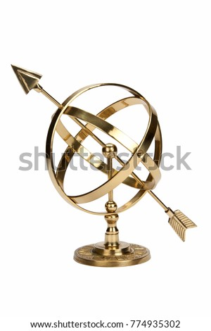Armillary Sphere or Armilla - a celestial globe consisting of metal hoops. Used by early astronomers to determine the positions of stars #774935302