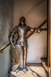 Armor exposition Castle district street of Prague in Czech Repub