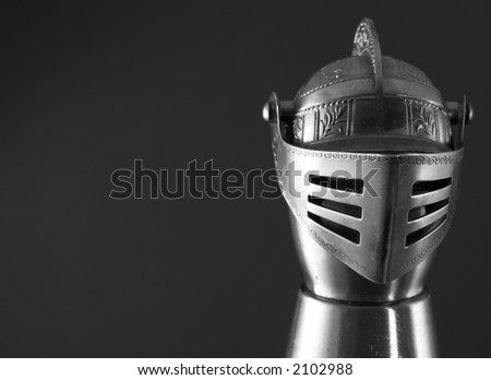 armor helmet on black