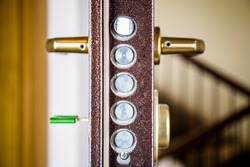 Armored front door, security lock with key. Home security