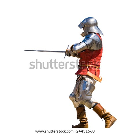Armored knight in attacking position. White background.